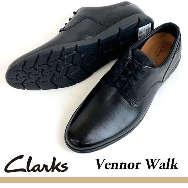 即納可☆ 【Clarks】クラークス VENNOR WALK BK LEATHER メンズ 本革靴 軽量 ビジネスシューズ 26131748