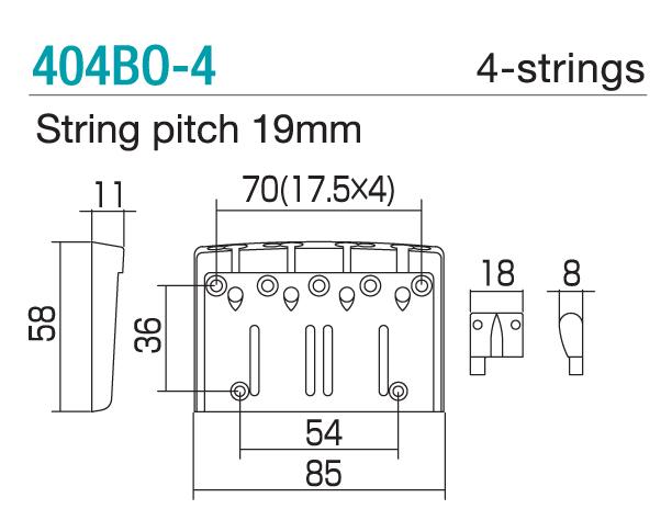 GOTOH/Bass BRIDGE 404BO-4 Chrome