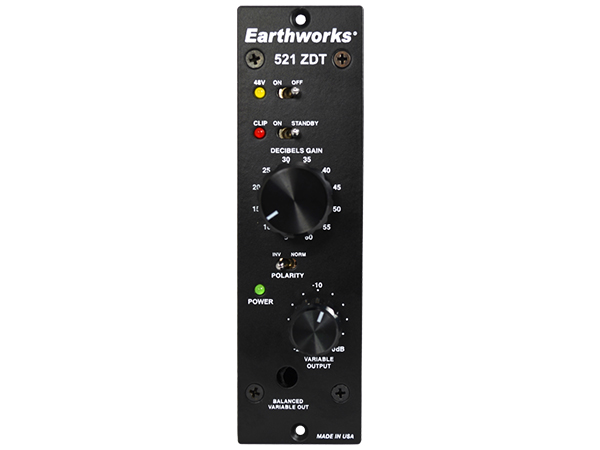 Earthworks ( アースワークス ) ZDT521 ◆ API 500互換 1CH マイクプリアンプ【ZDT521】 ◆【送料無料】【正規代理店取扱い】【API 500 互換】【1CH マイクプリアンプ】
