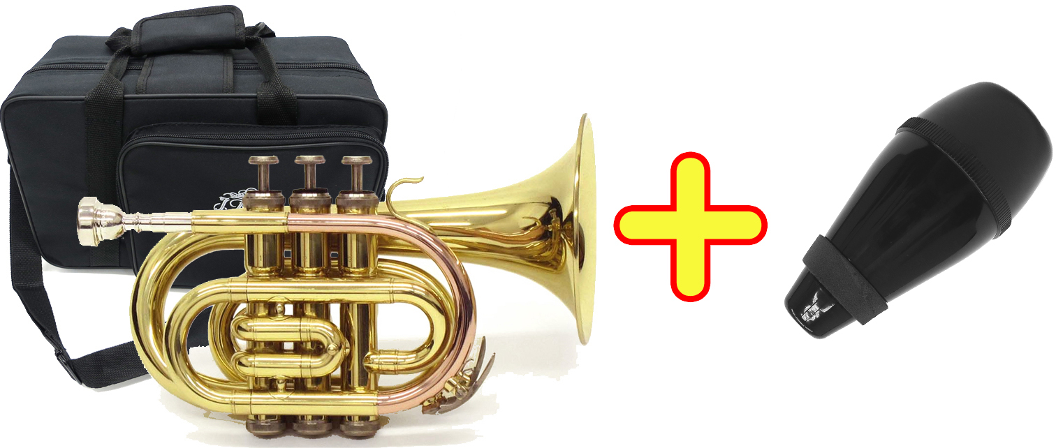 J Michael ( Jマイケル ) TR-350PL ポケットトランペット 新品 アウトレット 新品 ミニ トランペット 管楽器 mini pocket trumpet gold 【 TR350PL セット C】 送料無料