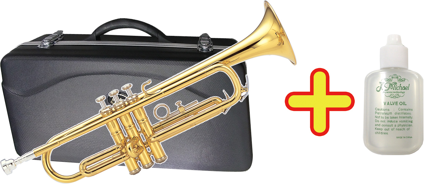 MAXTONE ( マックストーン ) 送料無料 【 TT-104 バルブオイル 】 新品 トランペット 初心者 ゴールド 管体 B♭ 本体 マウスピース ケース 楽器 スタンダード ラッパ 管楽器