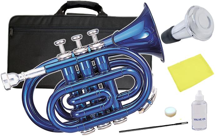Kaerntner ( ケルントナー ) KTR33P ポケットトランペット 青色 MBL 新品 管楽器 ミニトランペット ブルー トランペット KTR-33P メタリックブルー ミュート セット D