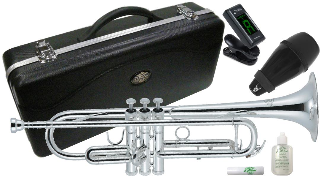 J Michael ( Jマイケル ) TR-300S トランペット 新品 アウトレット 銀メッキ 管楽器 スタンダード B♭ 本体 管体 初心者 Trumpet 【 TR300S セット D】 送料無料