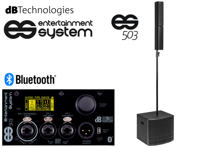 dBTechnologies ( ディービーテクノロジーズ ) ES 503 (1台) ◆ Bluetooth機器のストリーミング再生に対応 ポータブルPAシステム スピーカーをスプリットさせてステレオモードにも対応【ES503】 ESシリーズ [送料無料]