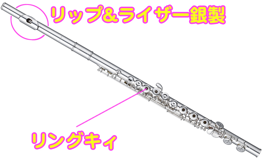Pearl Flute ( パールフルート ) PF-525RE リングキィ フルート 新品 リッププレート + ライザー 銀製 ブリランテ 銀メッキ Eメカニズム オフセット Brillante PF525RE 送料無料
