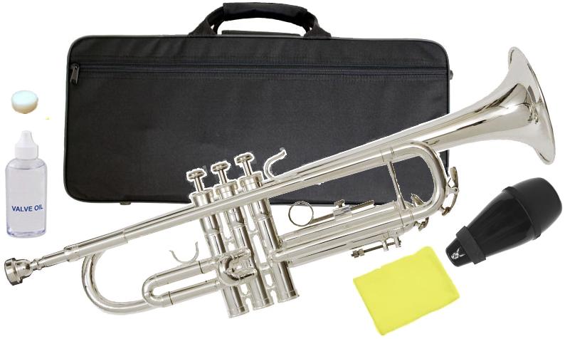 Kaerntner ( ケルントナー ) KTR-35 銀メッキ トランペット 新品 初心者 管楽器 管体 シルバーメッキ B♭ 本体 TRUMPET ミュート サイレンサー 【 KTR35 セット C】