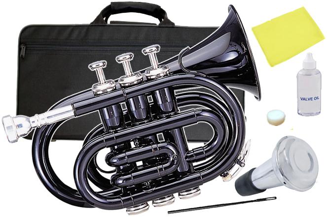 Kaerntner ( ケルントナー ) KTR33P BK ポケットトランペット ブラック 新品 ミニトランペット 管楽器 サイレンサー 管体 黒色 Pockt Trumpet KTR-33P BLK セット D 送料無料