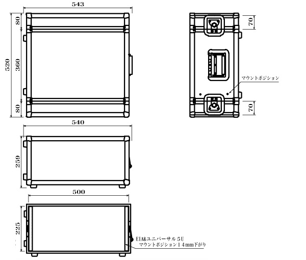 ARMOR ( アルモア ) 5U RACKCASE D360mm 黒 ◆ ラックケース FRP ラックエフェクター・アウトボード・パワーアンプ等 収納