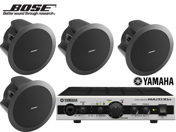 BOSE ( ボーズ ) DS16FB (4SP) 天井埋込セット(MA2030a)  ブラック 4台【(DS16FBx4+MA2030a x1)】 [ DS series ][ 送料無料 ]