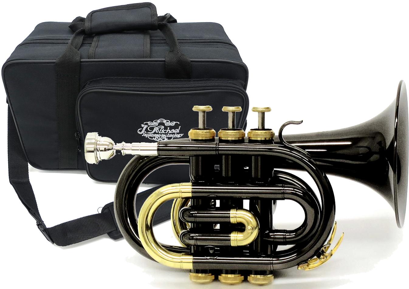 J Michael ( Jマイケル ) TR-400PCL BK ポケットトランペット ブラック 新品 アウトレット B♭ ミニ トランペット 管体 カラー 黒色 管楽器 初心者 TR400PCL BLK 送料無料