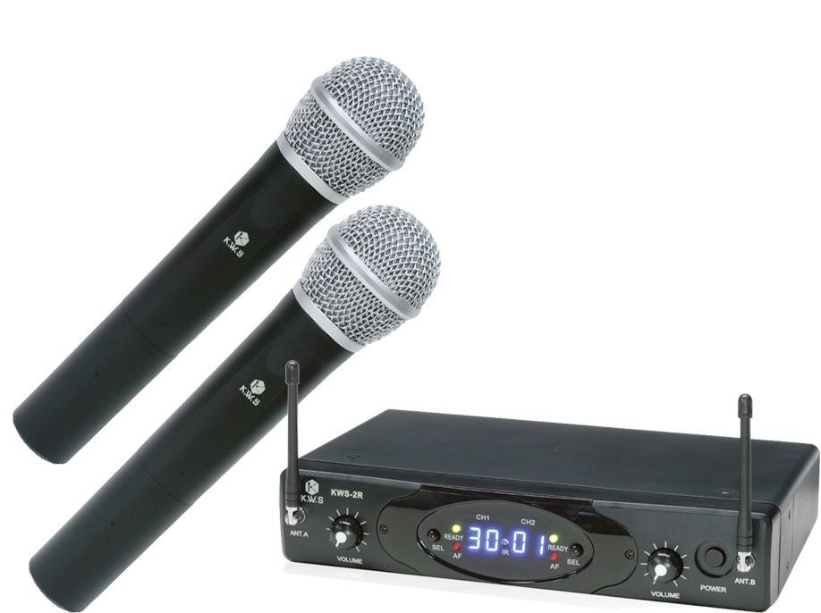 K.W.S ( by キクタニミュージック ) KWS-2H/H ◆ デュアルワイヤレスシステム ワイヤレスハンドマイク 2本+受信機のセット【KWS2H/H】 [ ワイヤレスシステム ][ 送料無料 ]