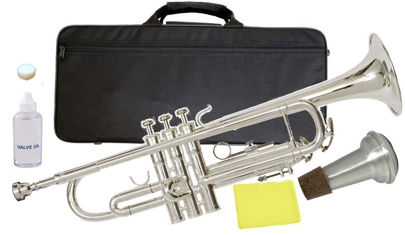 Kaerntner ( ケルントナー ) KTR-35 銀メッキ トランペット 新品 初心者 管楽器 管体 シルバーメッキ B♭ trumpet 本体 ミュート 【 KTR35 セット D】 送料無料