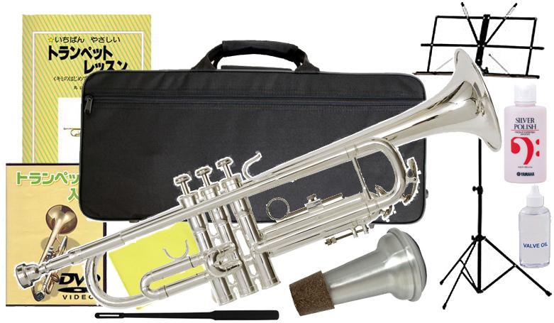 Kaerntner ( ケルントナー ) KTR-35 銀メッキ トランペット 新品 シルバー カラー 管楽器 初心者 スタンダード B♭調 本体 trumpet SV 【 KTR35 セット A】 送料無料