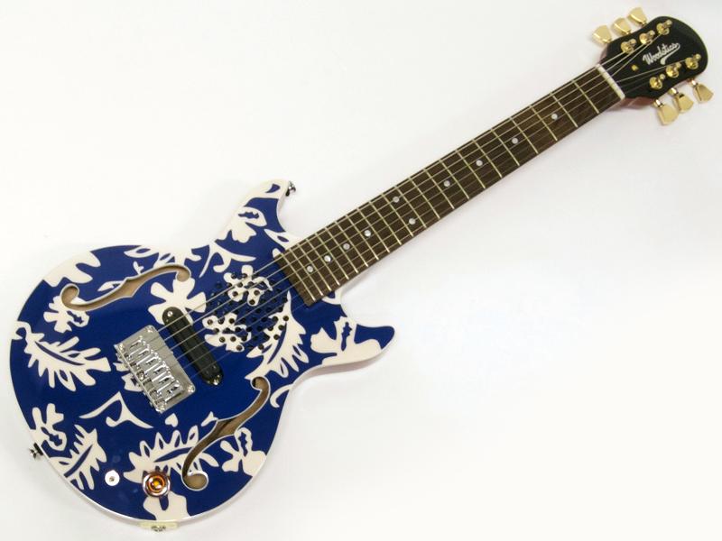 Woodstics WS-MINI ALOHA (BLUE & WHITE)【横山健 プロデュースブランド アンプ内蔵 ミニギター 】