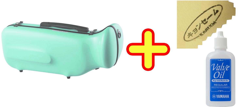 CCシャイニーケース トランペットケース パステルグリーン ハードケース トランペット用 リュックタイプ 管楽器 シングル ケース green 【 CC2-TP-PG セット D】 送料無料