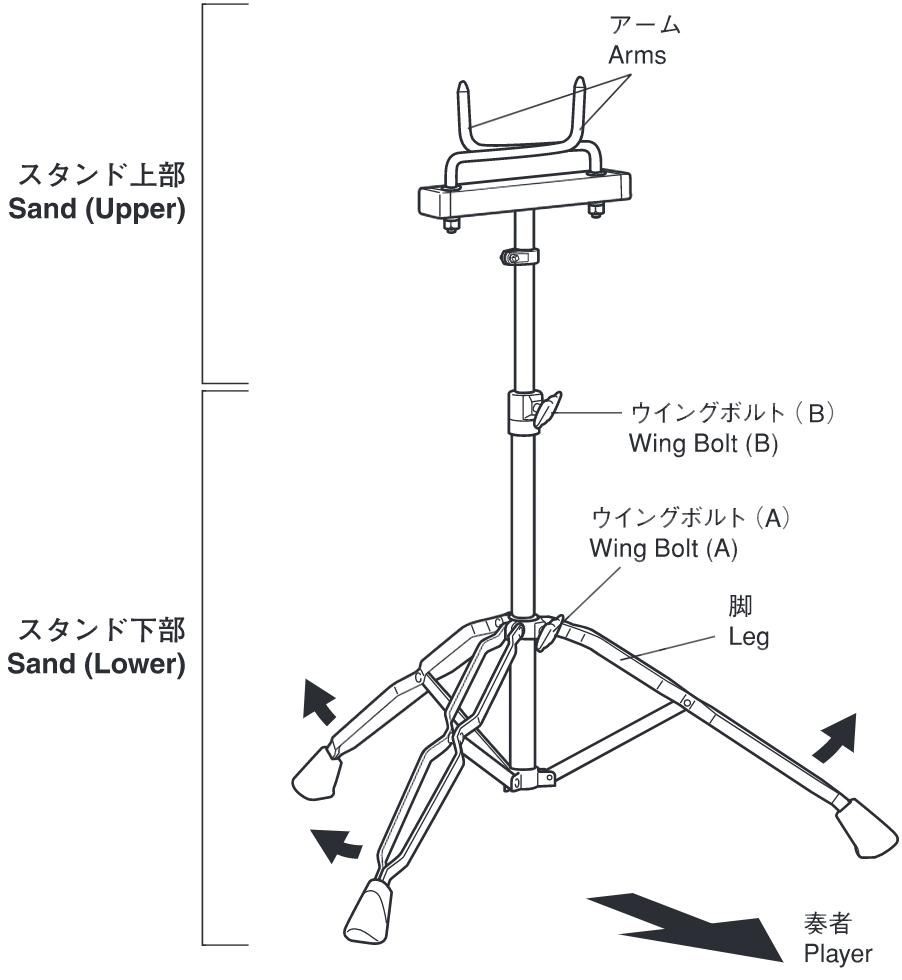 YAMAHA ( ヤマハ ) MTS-810B マーチングドラムスタンド marching drumstands MTS810B 打楽器 マルチタム用 スタンド アーム軸受け差込みタイプ