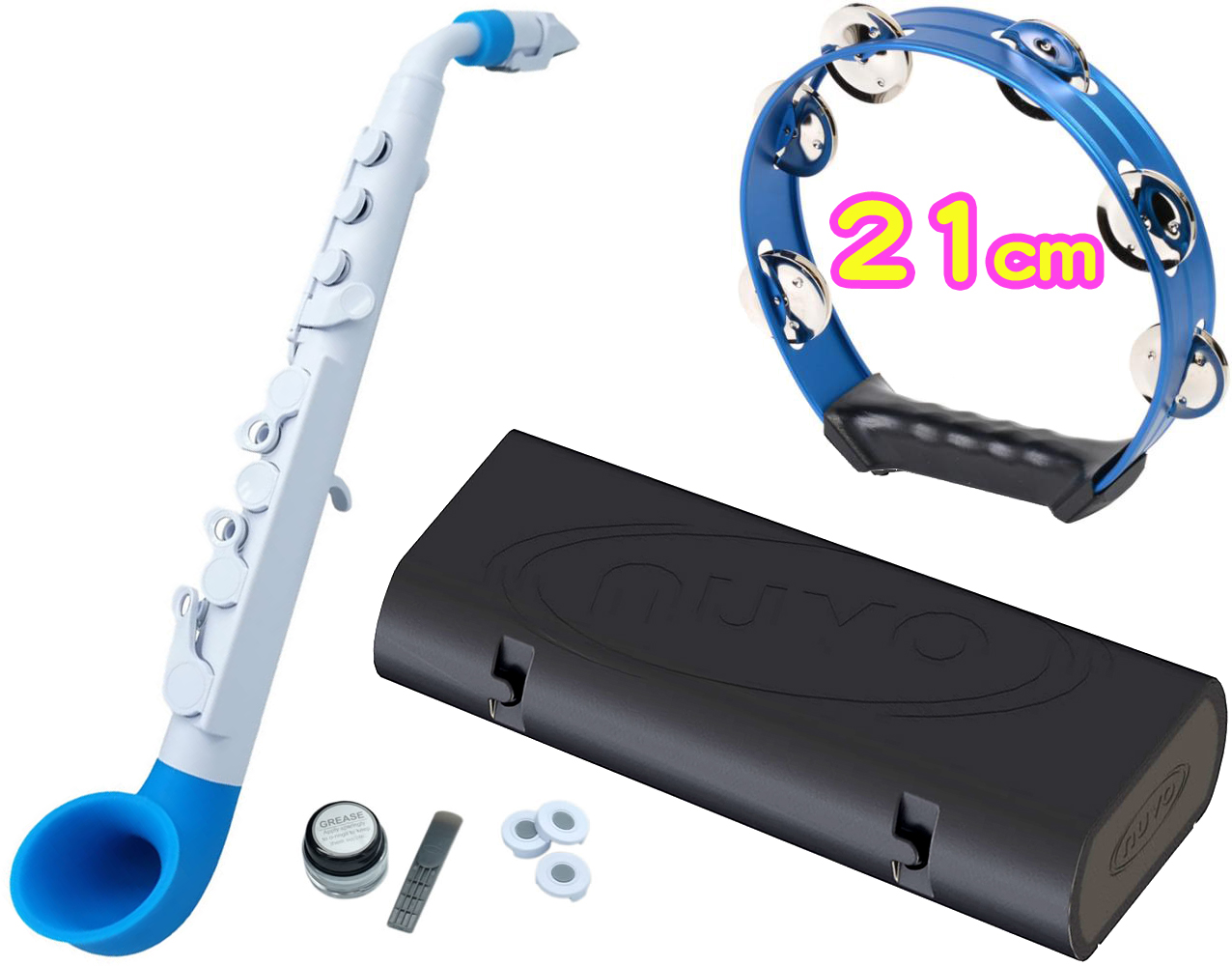 NUVO ( ヌーボ ) jSAX ホワイト ブルー N510JWBL プラスチック製 管楽器 サックス リード楽器 本体 サクソフォン 白色 青色 水色 Blue 【 jサックス WH/BL セット E】 送料無料