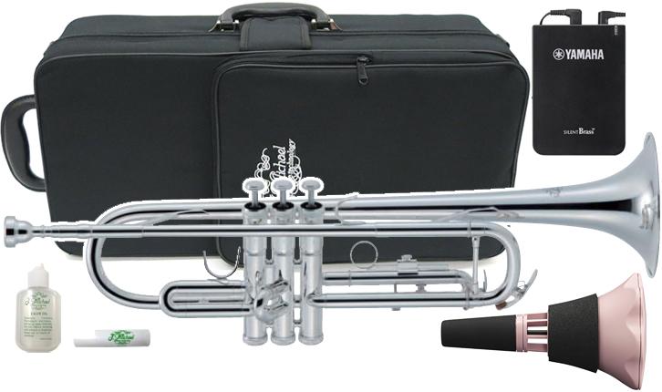 J Michael ( Jマイケル ) TR-430S トランペット ヤマハ サイレントブラス SB7XP ピンク 管楽器 銀メッキ レッドブラス製 マウスパイプ B♭ Trumpet 【 TR430S セット D 】 送料無料