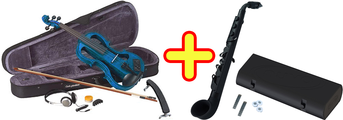 CarloGiordano ( カルロジョルダーノ ) EV-202 ブルー 青色 エレクトリック バイオリン 4/4 Silenzia サイレント 楽器 NUVO jsax 【 EV202 TBL セット B 】 送料無料