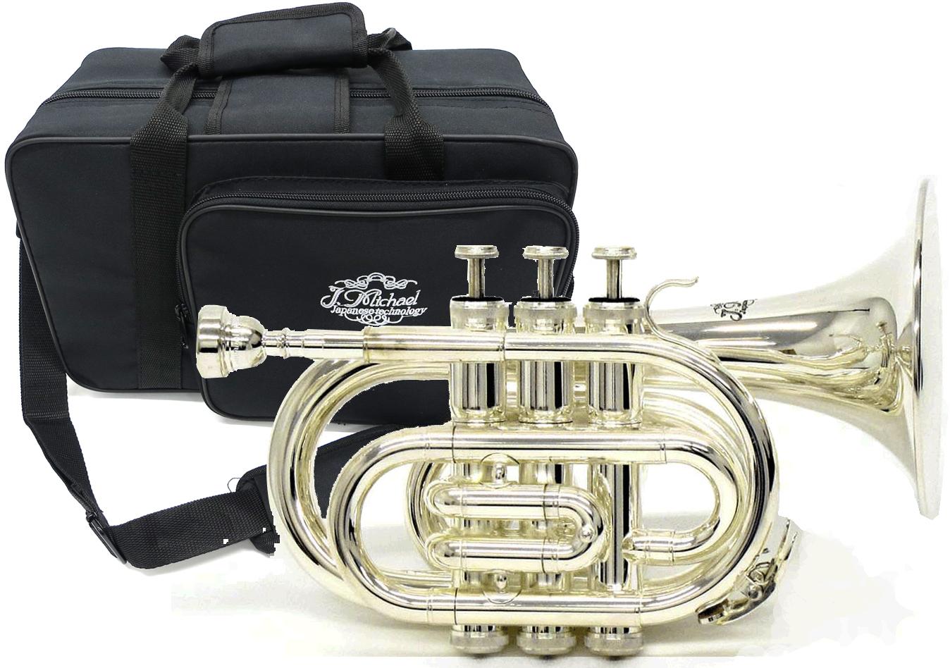 J Michael ( Jマイケル ) TR-400PSL 銀メッキ ポケットトランペット 新品 アウトレット 管体 B♭ ミニ トランペット 管楽器 mini pocket trumpet silver TR400PSL 送料無料