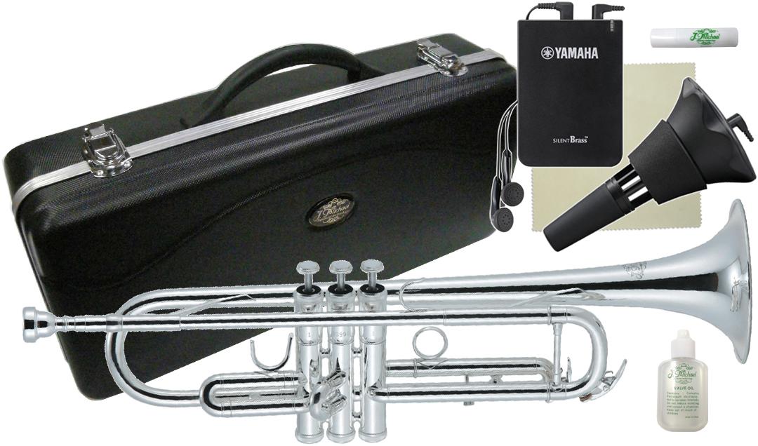 J Michael ( Jマイケル ) TR-300S トランペット 銀メッキ ヤマハサイレントブラス SB7X 管楽器 初心者 B♭ trumpet 本体 練習用 ミュート TR300S セット F