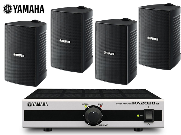 for 設備 ショールーム 店舗 商業施設 等 YAMAHA ヤマハ 新作通販 VS4 ブラック VS PA2030a series 野外対応 驚きの価格が実現 + VS4x2ペア+PA2030ax1 2ペア 送料無料 屋内 BGMセット