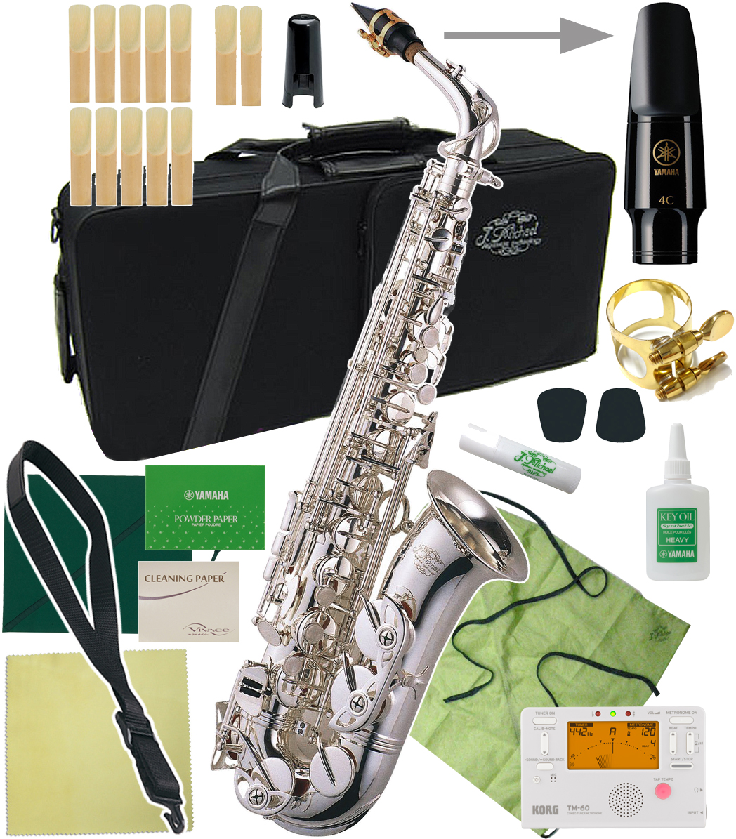alto saxophone silver アルトサクソフォン yamaha 4C マッピ J Michael ( Jマイケル ) AL-900S アルトサックス 新品 銀メッキ ヤマハマウスピース 管楽器 管体 初心者 アルトサクソフォン 本体 シルバーメッキ 【 AL900S セット C 】 送料無料