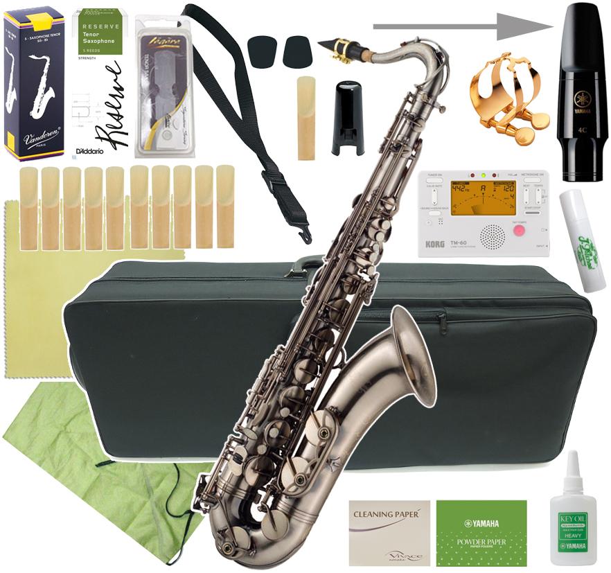 J Michael ( Jマイケル ) TN-1100GM テナーサックス 新品 ガンメタリック アンティーク風 管体 初心者 管楽器 gun metal tenor saxophone TN1100GM セット B 送料無料