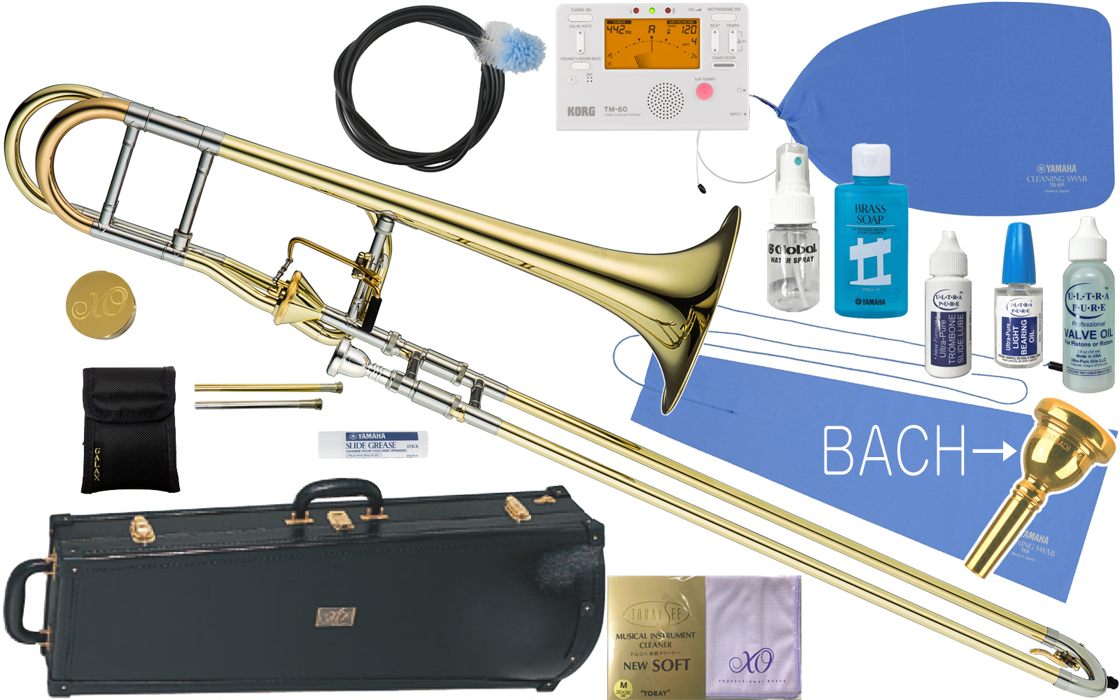 XO ( エックスオー ) 1236L-T トロンボーン 新品 B♭/F管 テナーバストロンボーン アキシャルフローバルブ イエローブラス 太管 Tenor Bass Trombones BT-L セットA 送料無料