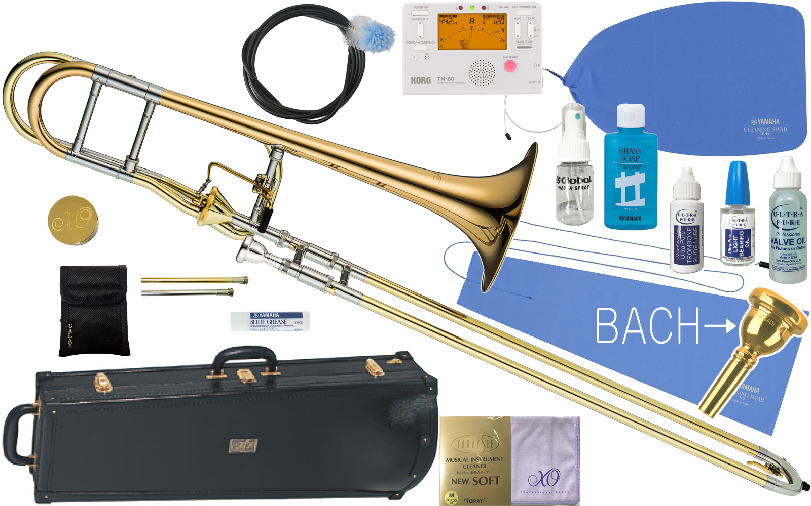 XO ( エックスオー ) 1236RL-T トロンボーン 新品 B♭/F管 テナーバストロンボーン アキシャルフローバルブ ゴールドブラス 太管 Tenor Bass Trombones BT-GB セットA 送料無料