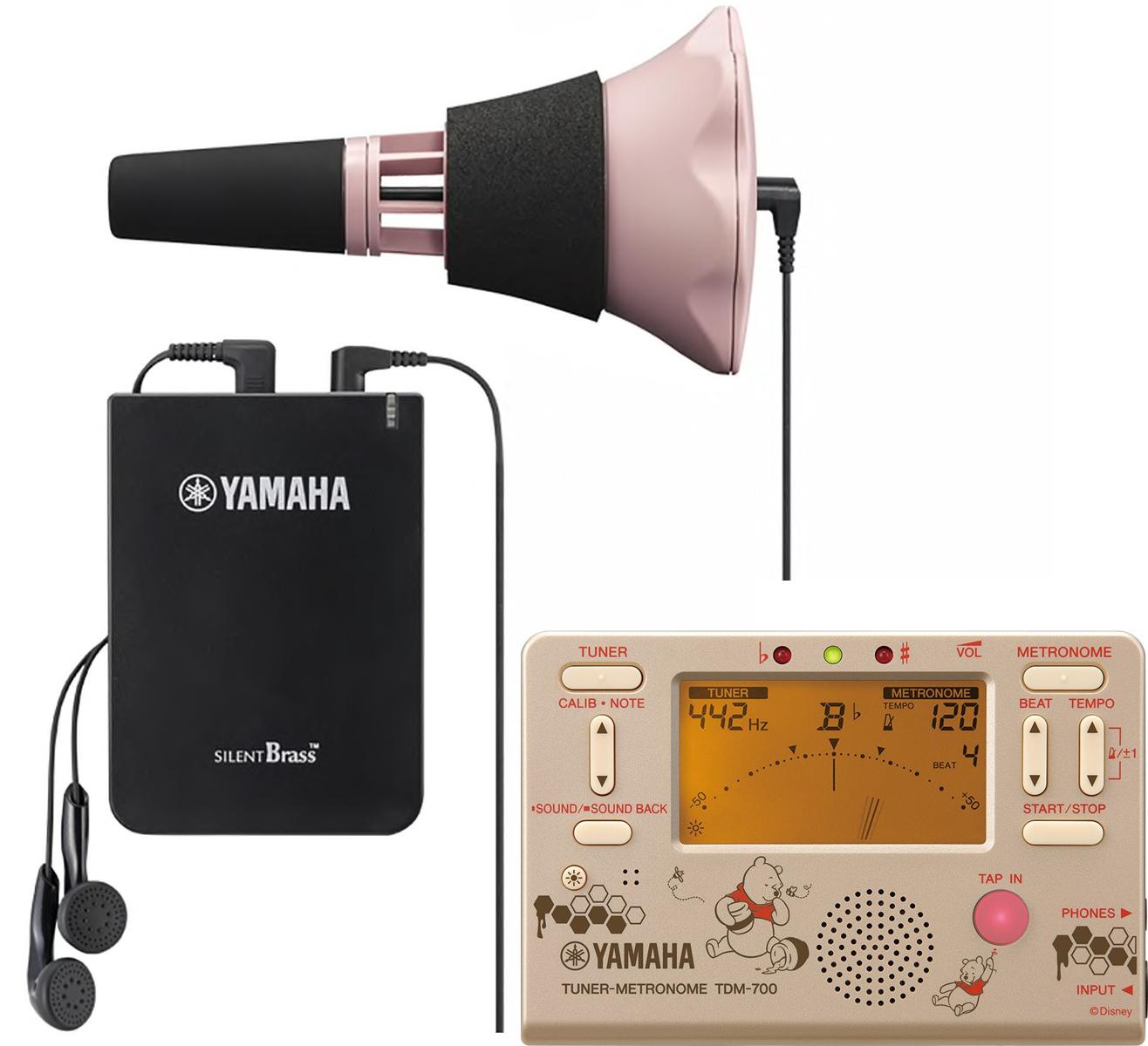 YAMAHA ( ヤマハ ) SB7XP トランペット用 サイレントブラス ピンク メトロノームチューナー TDM-700DPO3 プーさん クロマチックチューナー ディズニー SB-7XP セット D