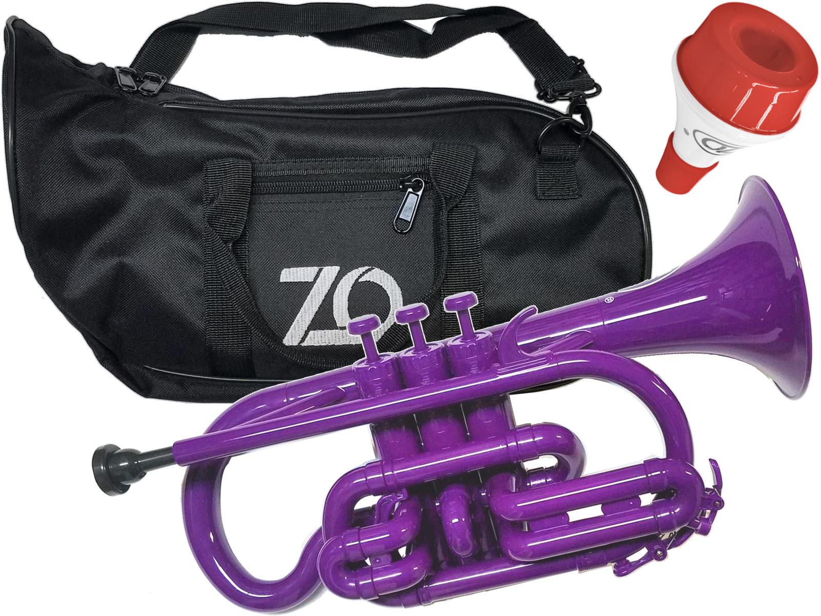 樹脂製 B♭ CN04 紫色 プラスチックコルネット ZO ( ゼットオー ) コルネット CN-04 パープル 調整品 新品 アウトレット プラスチック 管楽器 cornet purple 楽器 ミュート セット 北海道 沖縄 離島不可