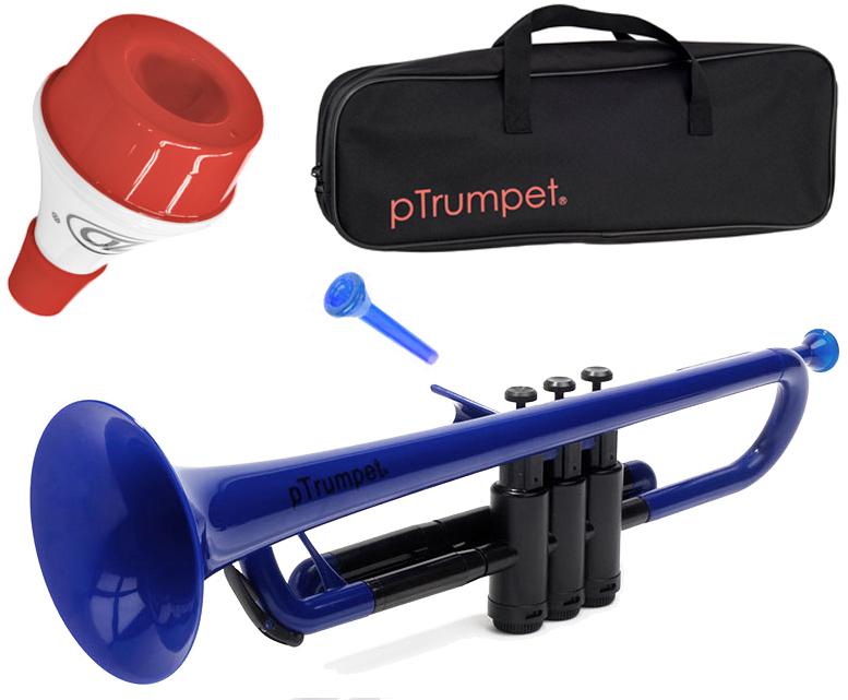 PINSTRUMENTS pTrumpet ブルー 新品 プラスチック トランペット B♭ 管楽器 Pトランペット マウスピース trumpet blue PTRUMPET1B ミュート セット 2