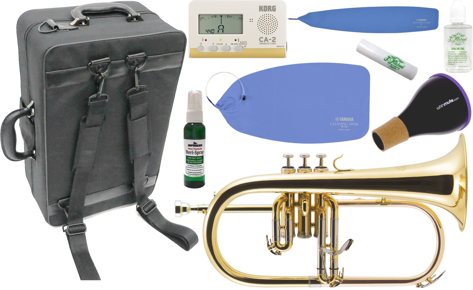 J Michael ( Jマイケル ) FG-500 フリューゲルホルン 新品 ゴールド 管楽器 B· 本体 Flugelhorn ミュート セット E 北海道 沖縄 離島 同梱不可