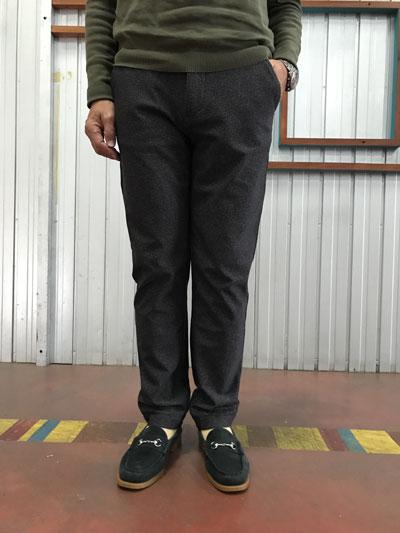 FOB FACTORYエフオービー【SALE】 F0464 Easy Pants イージーパンツ ヘリンボーンプリント 裏起毛 チャコール 送料無料