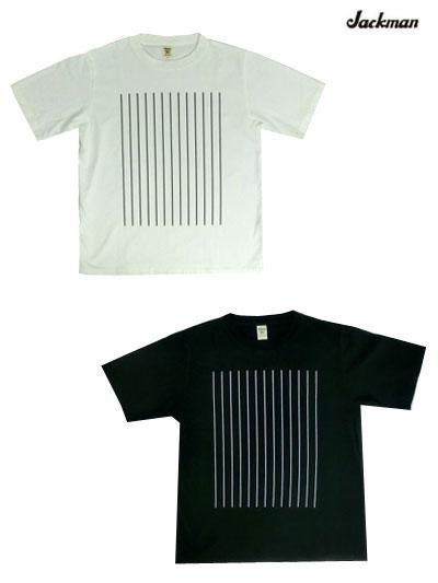【SALE】Jackman ジャックマン JM5933 アメリカコットン ストライププリントTシャツ White Black ホワイト ブラック日本製