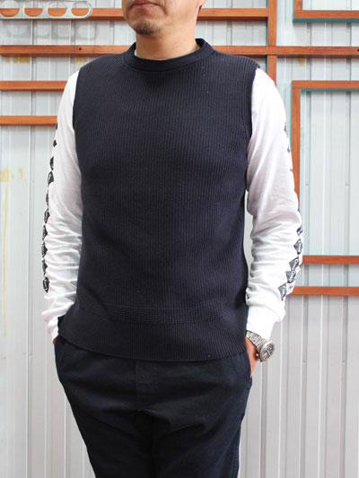 STUDIO ORIBE(スタジオオリベ)DELICIOUS(デリシャス)Cotton Knit Vest シンプルなニットベスト Navy  ネイビー コットンインナーベスト 送料無料