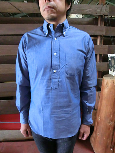 INDIVIDUALIZED SHIRTS(インディビジュアライズドシャツ)Standard Fit Long Sleeve ボタンダウンシャンブレープルオーバー ネイビー USA製 送料無料