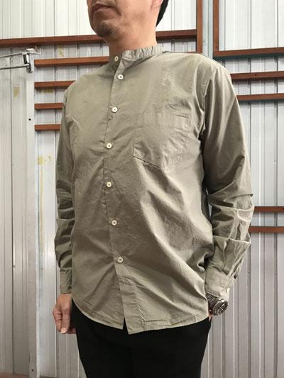MANUAL ALPHABET マニュアルアルファベット  MA-S-489 ルーズフィット バンドカラーシャツ Grey グレー 日本製
