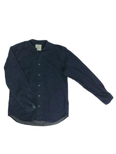 MANUAL ALPHABET (マニュアルアルファベット)MAS-408 8OZ DENIM Vネックシャツカーディガン デニムシャツ Denim BLUE デニムブルー 日本製 こだわりのウオッシュデニム素材 送料無料
