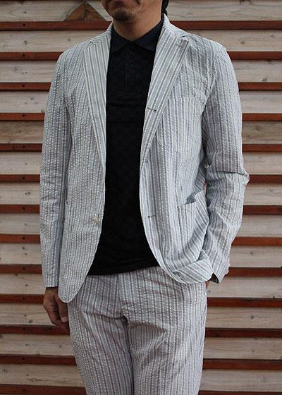 スタジオオリベ STUDIO ORIBE DELICIOUS(デリシャス)【SALE】 DJ0515 Relax Jacket 軽量 リラックス3つ釦ジャケット Blue Stripe ブルーストライプ スタジオオリベ 送料無料