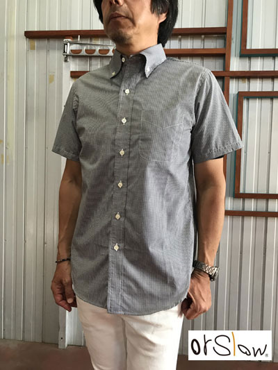 【SALE】Orslow オアスロウ 01-8022-161 ショートスリーブボタンダウンシャツ 極小ブラックギンガムチェック 送料無料