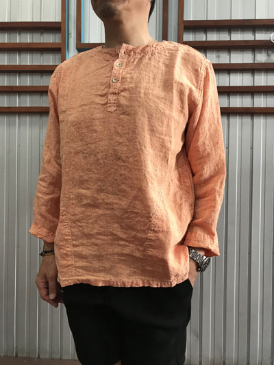 orslow(オアスロウ ) 03-8044-01 PULLOVER SHIRTS プルオーバーシャツ Orange オレンジ リネン素材 日本製