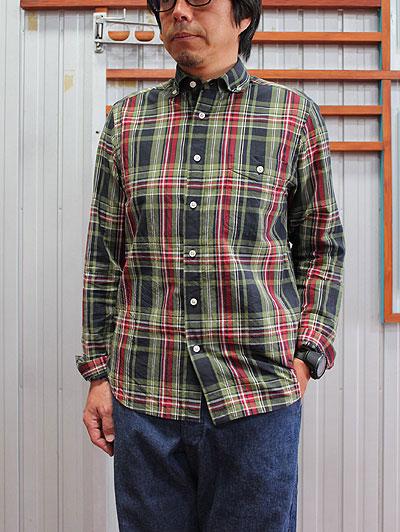 【SALE】STUDIO ORIBE(スタジオオリベ)DELICIOUS(デリシャス)メンズシャツ DS0123 Pujol(プジョル)コットンリネン素材 ボタンダウンシャツ Green Check 送料無料