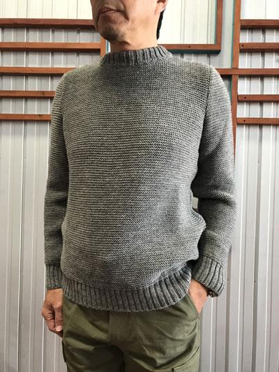 Kerry Woollen Mills(ケリー ウーレン ミルズ) Pearl stitch crew neck LITE knit クルーネックニット Steel グレー 送料無料