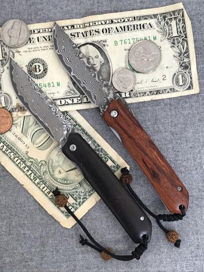 ドイツメイドHerbertz ダマスカス鋼71層 ユーティリティーフォールディングナイフ ライナーロック式 革ケース付き 黒檀 ココボロ