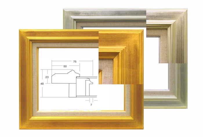 7711 ゴールド/シルバー F10号(530×455mm) ガラス付き 油彩額縁 油絵額縁 油彩額 油絵額