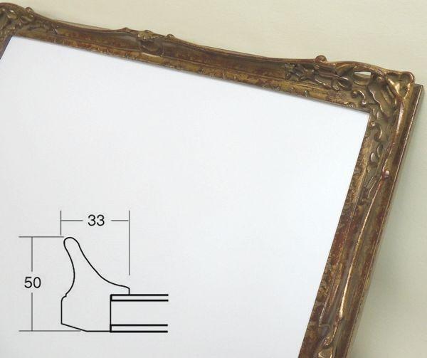 8798 三々(606×455mm) 古代ゴールド デッサン額 デッサン額縁 水彩額 水彩額縁 木製 フレーム アンティーク調ゴールド ルイ調