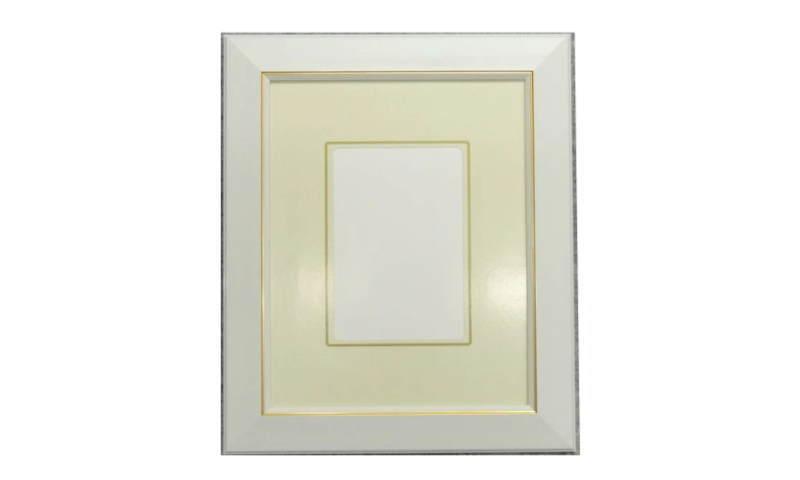 見た目も素敵なフレームです。 108 ホワイト インチ 255×203mm はがき額 豪華 デッサン額縁 水彩額 水彩額縁 フレーム ガラス B級品 激安価格