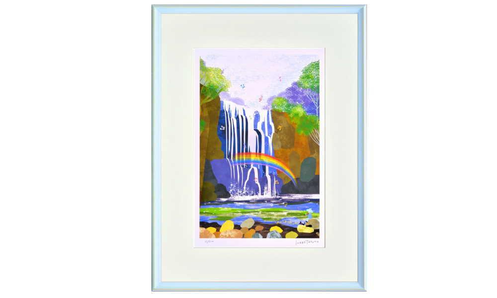はりたつお 大全紙583x765  フレーム色ソライロ 『熊野の滝』 インテリア額装品 受注生産品 大額 c1091